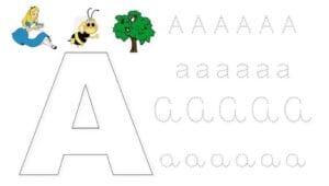 alfabeto pontilhado cursivo a