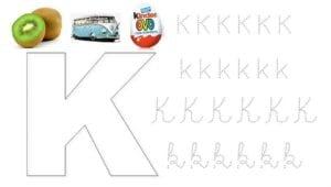 alfabeto pontilhado cursivo k