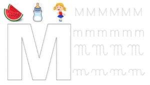 alfabeto pontilhado cursivo m