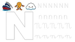 alfabeto pontilhado cursivo n