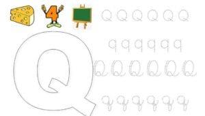 alfabeto pontilhado cursivo q
