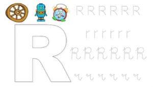 alfabeto pontilhado cursivo r