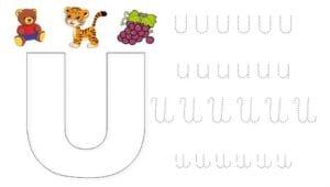 alfabeto pontilhado cursivo u