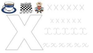 alfabeto pontilhado cursivo x