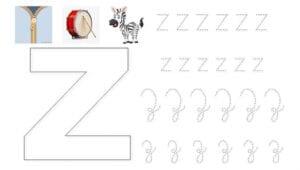 alfabeto pontilhado cursivo z