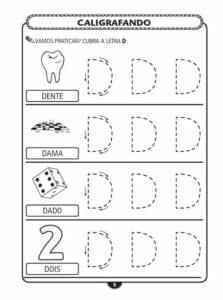 alfabeto pontilhado letra bastao d