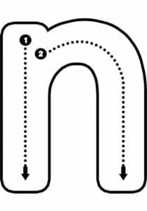 alfabeto pontilhado para imprimir n