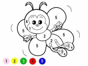 colorir com numero borboleta pequena