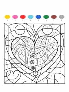 colorir com numero coracao