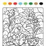 colorir com numero flores