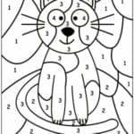 colorir com numero gato