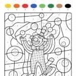 colorir com numero palhacinho