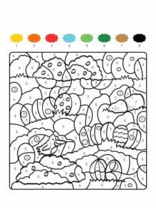 colorir com numero pascoa