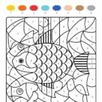 colorir com numero peixe