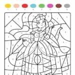 colorir com numero princesa
