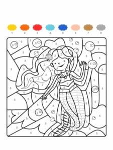 colorir com numero sereia