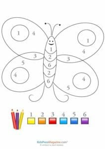 colorir por numeros borboletinha