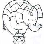 colorir por numeros elefante