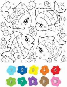 colorir por numeros peixes 01