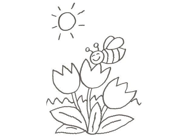 desenho da primavera para pintar e imprimir