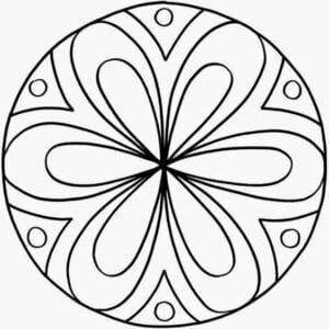 desenho de mandala com flores para colorir