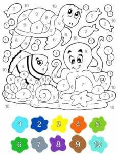 pintar por numero aquario