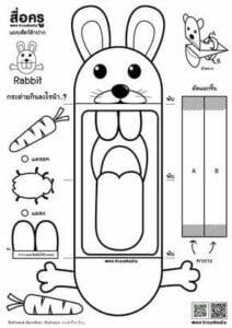 fantoches de papel coelho