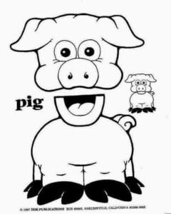 fantoches de papel porco