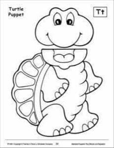 fantoches de papel tartaruga