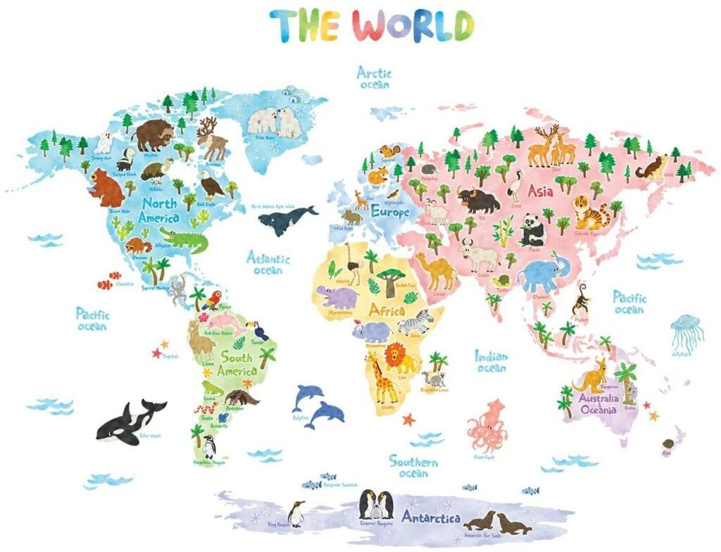 mapa de mundo animal