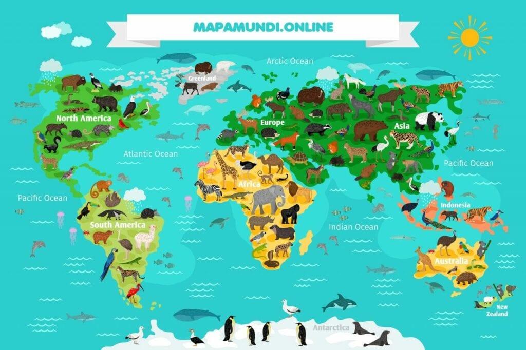mapa mundi com animais
