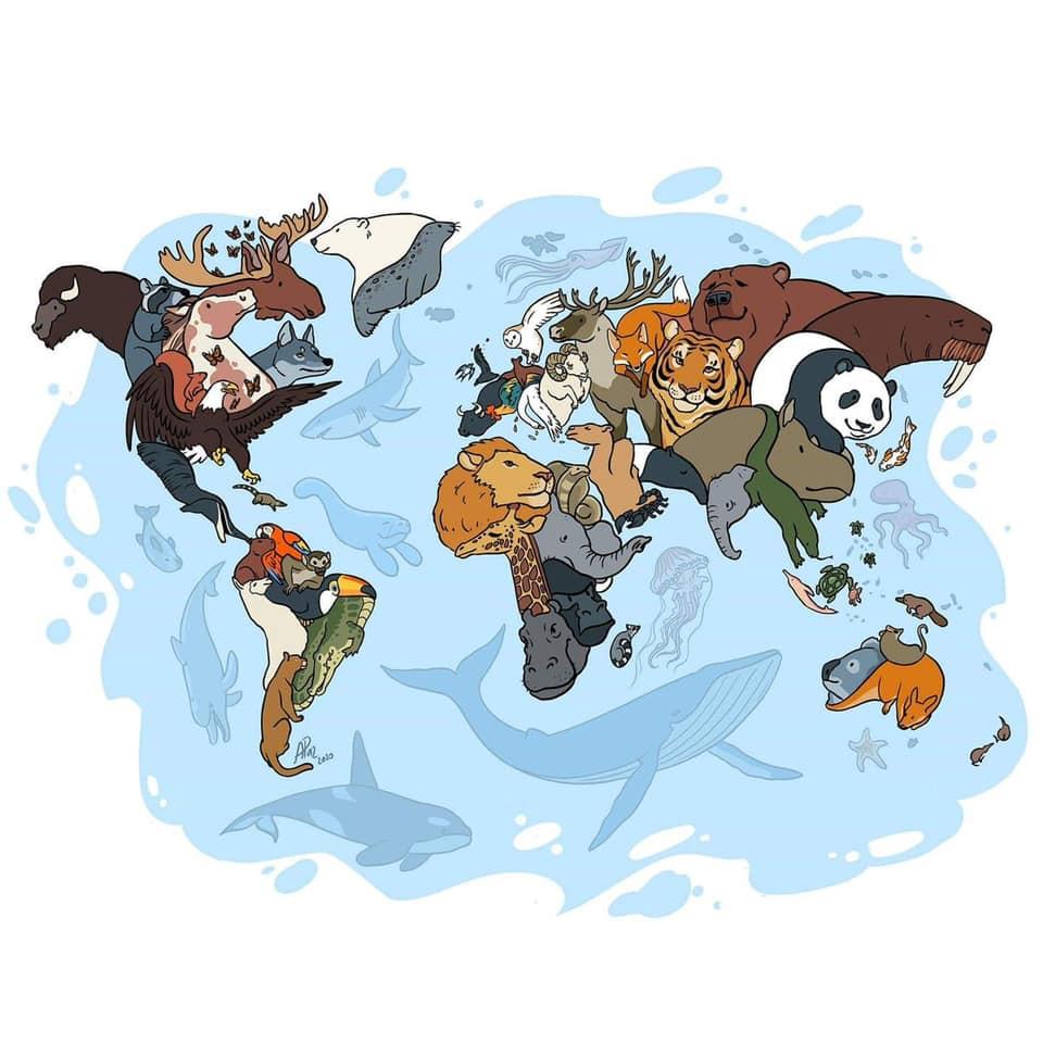 mapa mundi dos animais