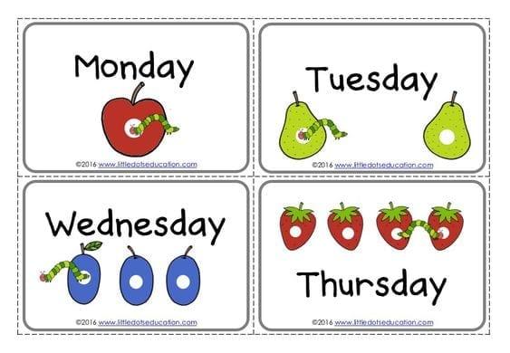 os dias da semana a lagarta comilona