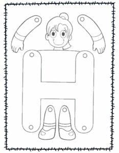 abecedario para recortar e montar h