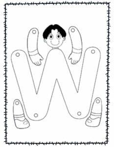 abecedario para recortar e montar w