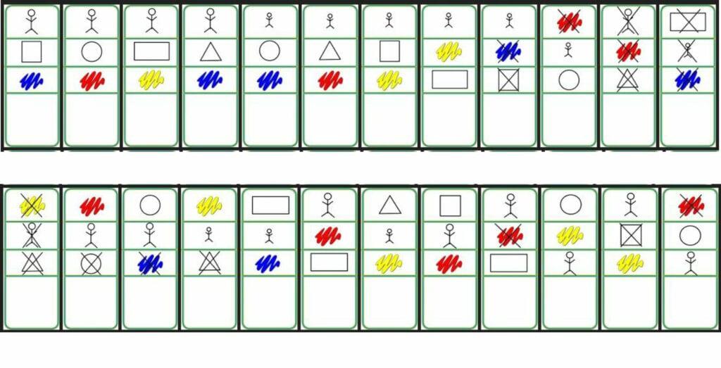 cartas de atributos logicos para imprimir
