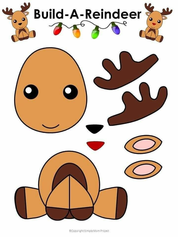 Atividade natalina para recortar e colar rena