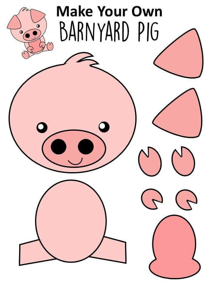 animais para recortar e colar porco