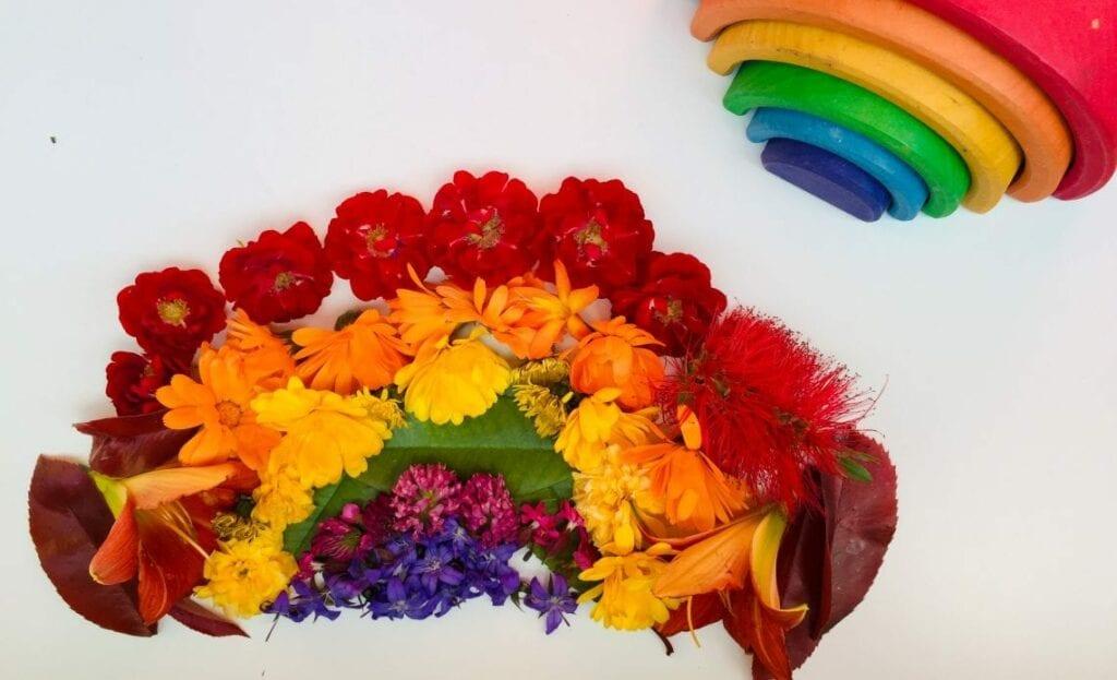 criar um arco iris de flores