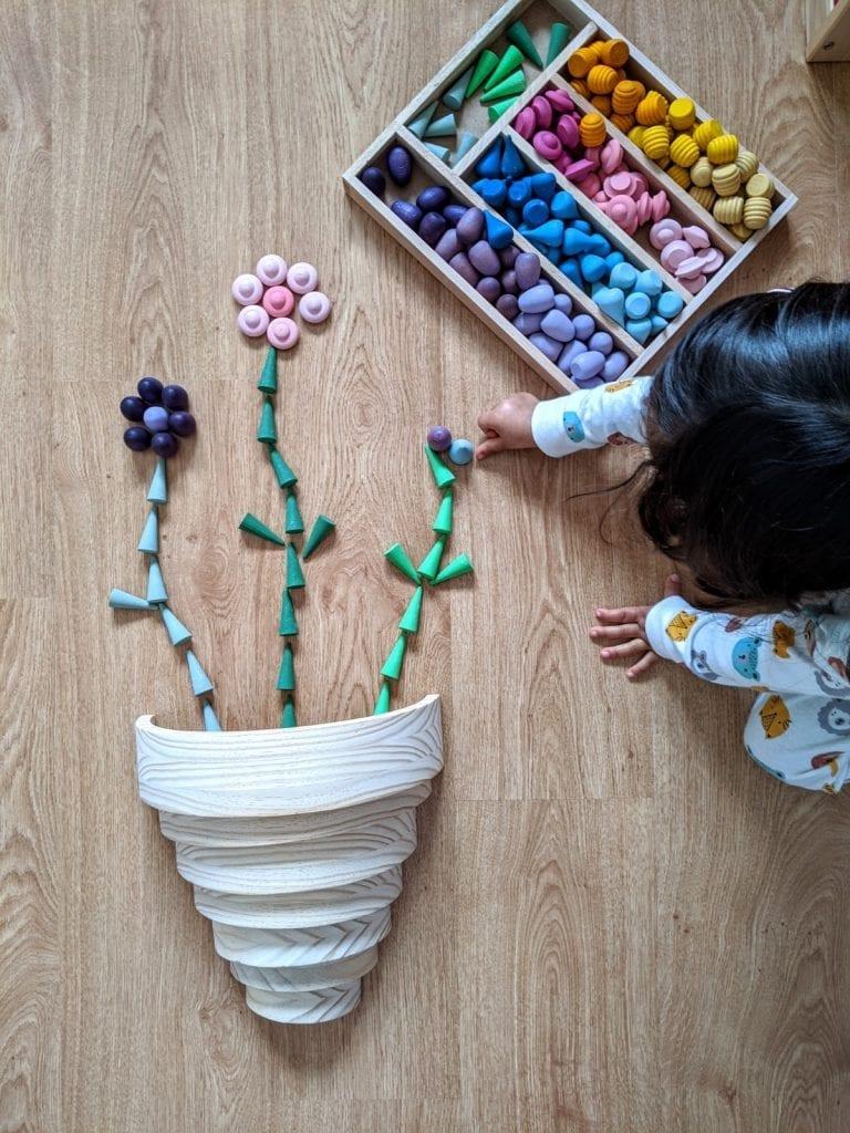 desenhar flores com peças soltas