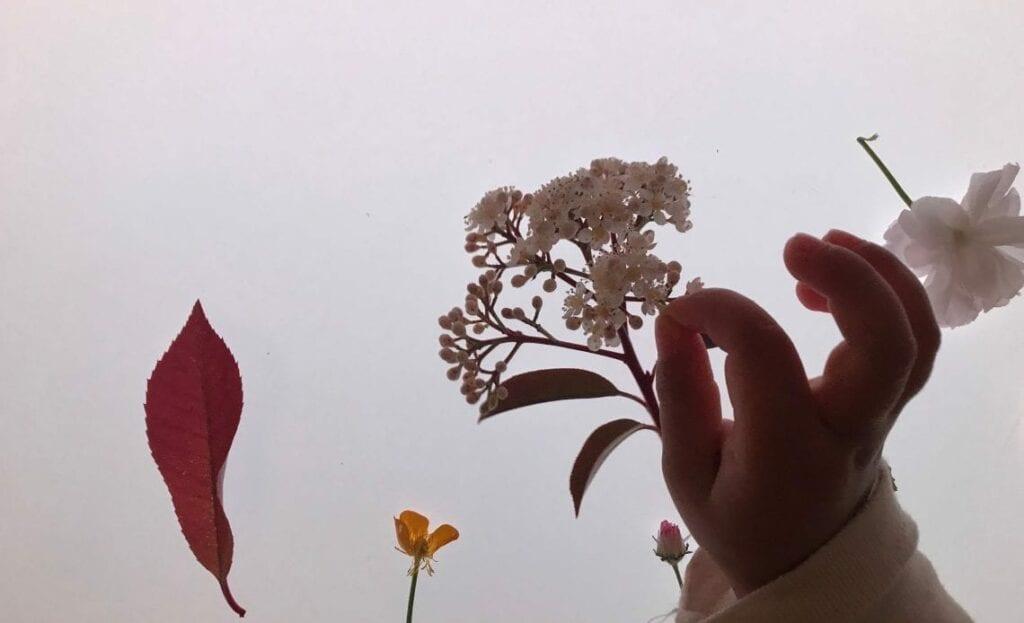 flores da primavera na mesa de luz