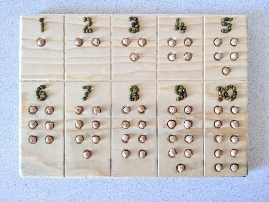 tabuleiro de contagem com numeros 11