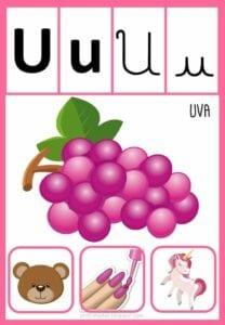 vogais com desenhos para imprimir u
