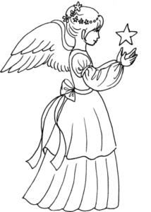 anjos natalinos para colorir