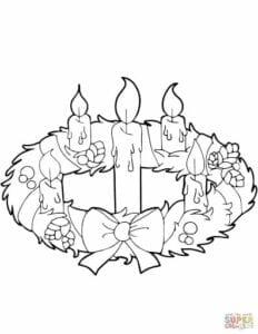 coroa do advento natalina para colorir