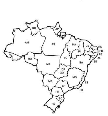 mapa do brasil com siglas dos estados