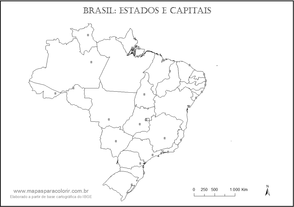 mapa do brasil para identificar capitais