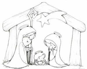 presepio para colorir simbolo do natal