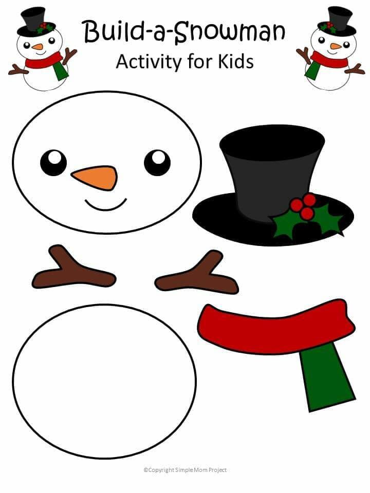 Atividade de boneco de neve para recortar e montar
