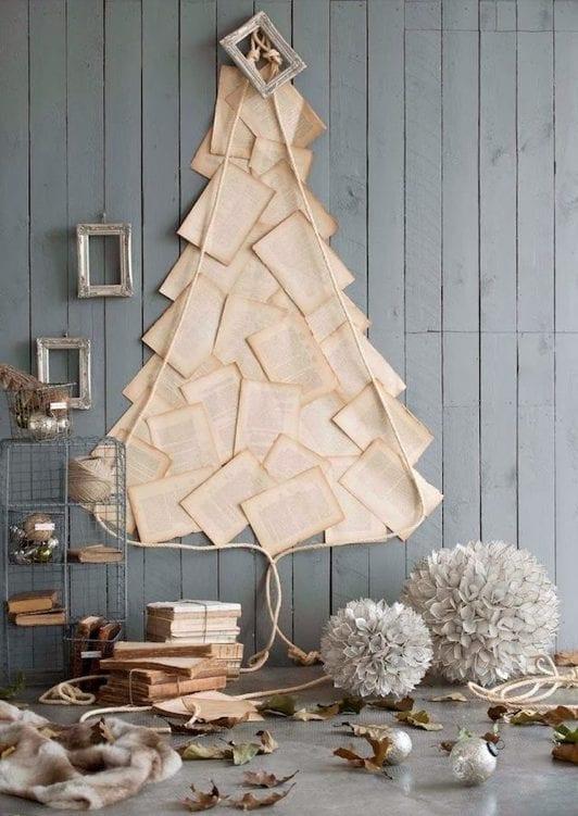 arvores de natal com folhas de livro